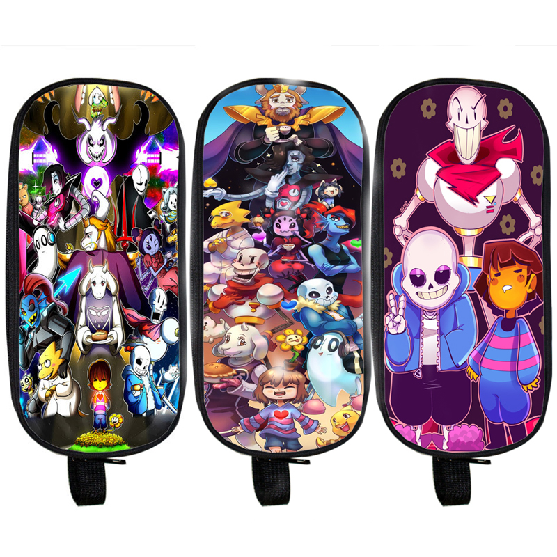 Anime Undertale Pencil Holder Boys Girls School Case Sans Kids Cartoon Bag Undertale Children Cases Cosmetic Cases  multifunction cosmetic cases women make up bag punk skull print kids boys pencil pen bag for school boys girls stationary holder