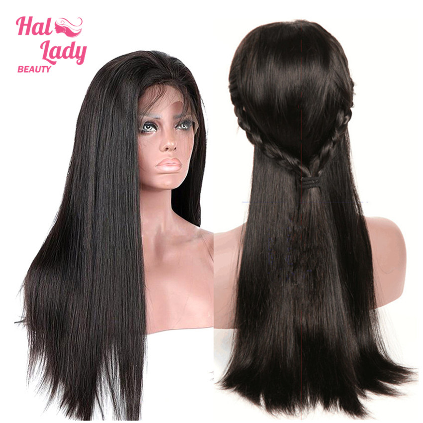 Halo Lady Beauty 13X4 Lace Front Wigs Brazilian Straight Human Hair Wigs Natural Color PrePlucked with
