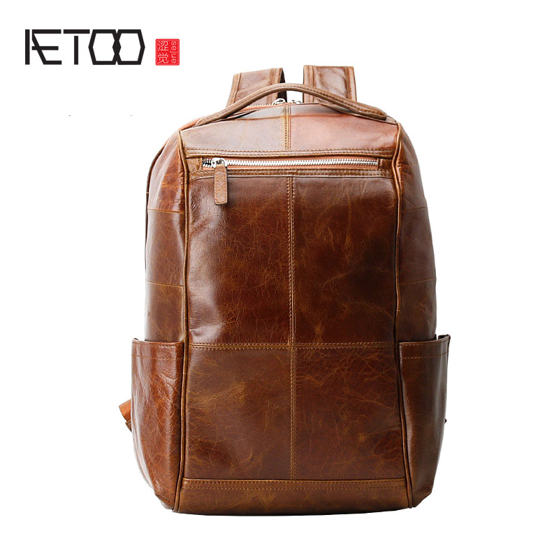 AETOO New leather mens backpack first layer of leather backpack Korean leisure travel shoulder bagAETOO New leather mens backpack first layer of leather backpack Korean leisure travel shoulder bag