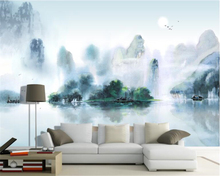 beibehang papel de parede Any size hanging on the wall of wallpaper simple Chinese ink landscape TV sofa backdrop paper