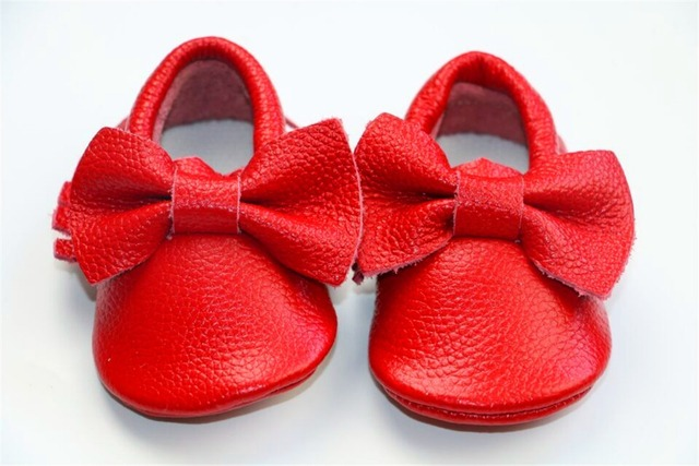 Retail Genuine Leather red Baby Moccasins soft Baby boys Girls Shoes First Walker Chaussure newborn shoes with bow