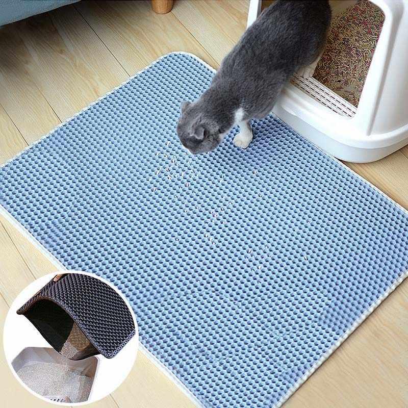 방수 쓰레기 매트 애완 동물 카펫 고양이 모래 고양이 화장실 매트 고양이 애완 동물 고양이 트 랩퍼 Foldable EVA 미끄럼 방지 매트 액세서리