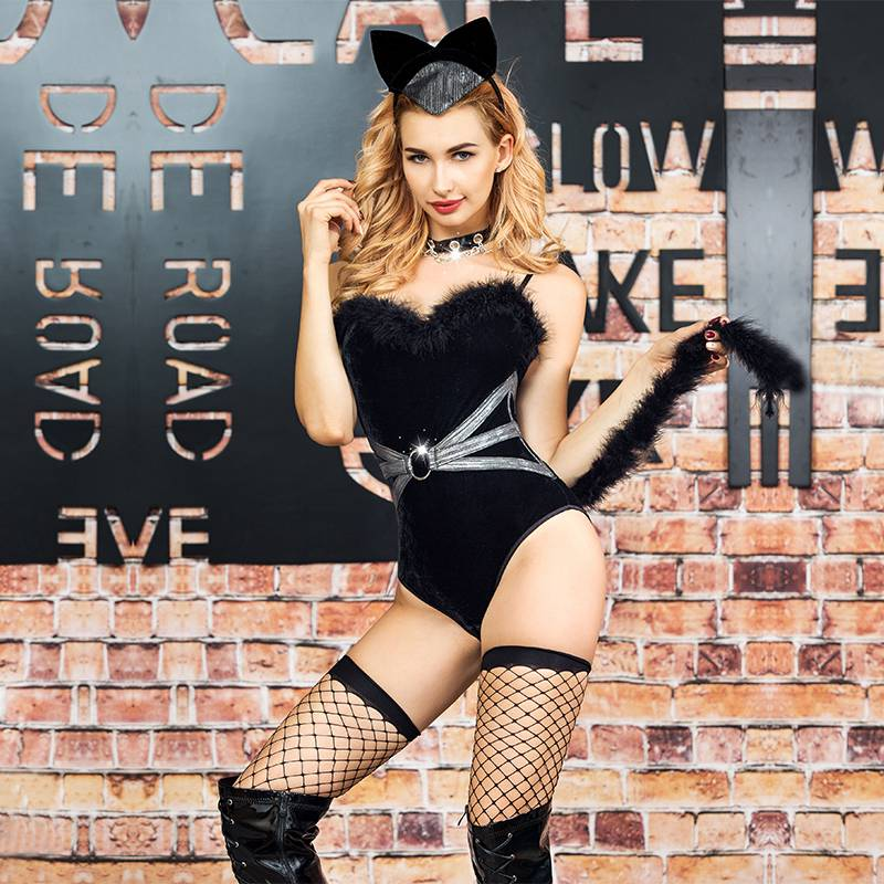 black velour bodysuit sexy cat woman costume halloween role play cat uniform outfit bodystocking with long fluffy tail 6317