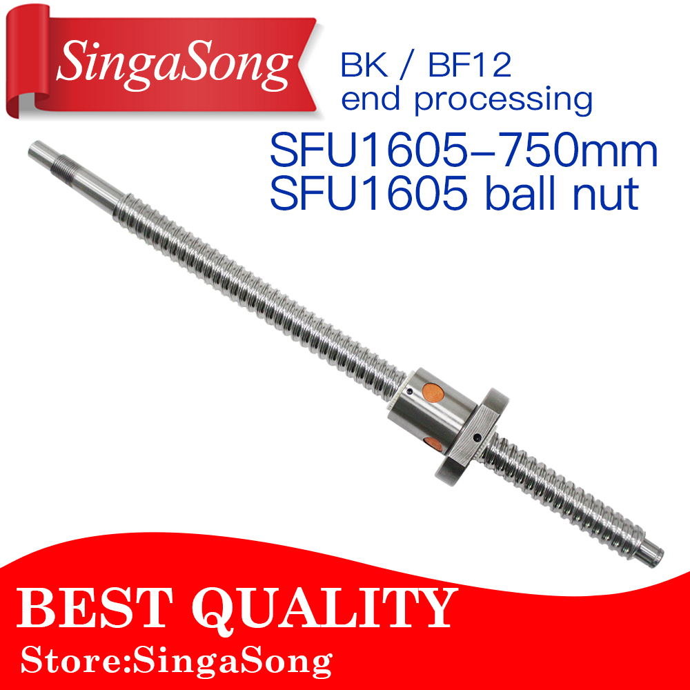 все цены на 16mm 1605 Ball Screw Rolled C7 ballscrew SFU1605 750mm with one 1500 flange single ball nut for CNC parts онлайн