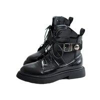 Fashion Pu Leather Boots Women Lace Up Europen Ankle Ladies 2017 Black Flats Platform Ladies Shoes