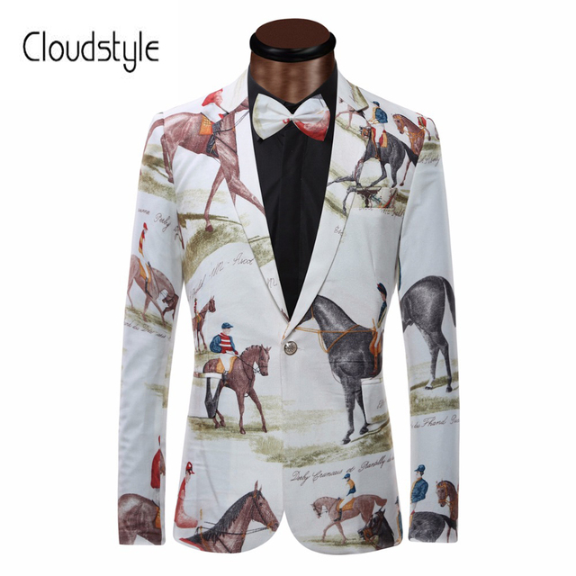 Brand New Blazer Men Riding Horse 3D Print  Suit Jacket Slim Fit Casual Stage Wear Fashion Mens Bow Tie Blazers Plus Size XS-6XL