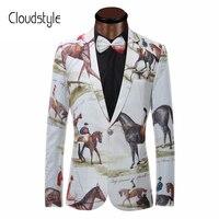 Brand New Blazer Men Riding Horse 3D Print Suit Jacket Slim Fit Casual Stage Wear Fashion Mens Blazers Plus Size XS-6XL
