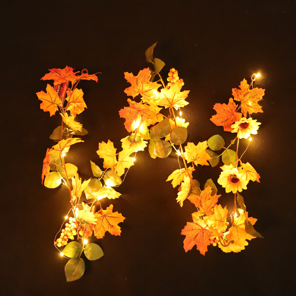 Halloween 1.8M LED Light Fall Autumn Pumpkin Maple Leaves Garland Decor-String Lights Lantern Small Night Light Home/&Garden Decor for Halloween Indoor Outdoor Party B