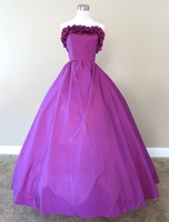 Purple Ruffled Top Gown Civil war costume renaissance dress satin dress