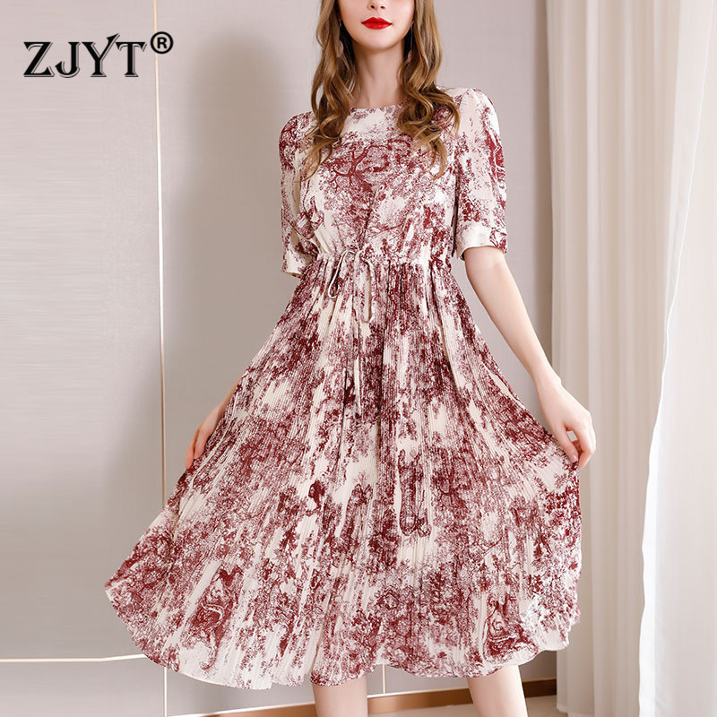 Summer Designer Runway Dresses 2019 Women High Quality Fashion Short Sleeve Animal Ink Painting Print Vintage