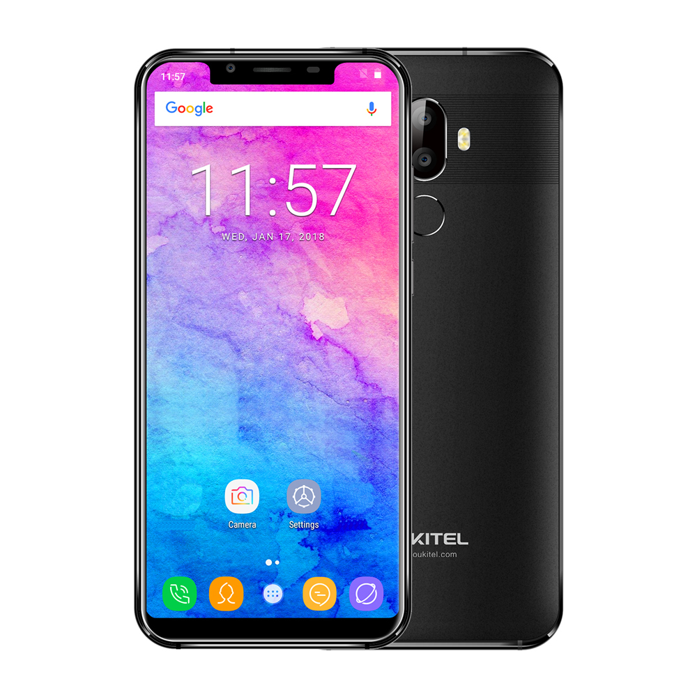 OUKITEL U18 5.85'' 21:9 Display Face ID 13MP Android 7.0 MTK6750T Octa Core 4GB+64GB 4000mAh Dual Rear Cameras 4G Mobile Phone