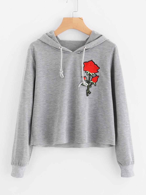 Women Rose Embroidery Autumn Hoody Fashion Short Tracksuits Hoodies Casual Long Sleeve Sweatshirts