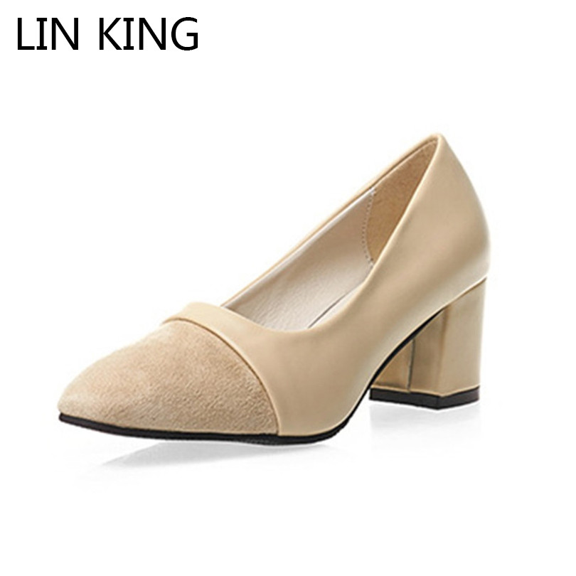 LIN KING Spring Autumn Thick Heel Women Pumps Square Heel Pointed Toe Female High Heel Shoes Fashion Ladies Party Wedding Shoes