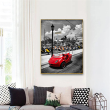 Póster nórdico de coche rojo con diseño artístico en blanco y negro, impresión moderna de Scooters, pintura al óleo Vintage, pintura sobre lienzo, decoración para sala de estar