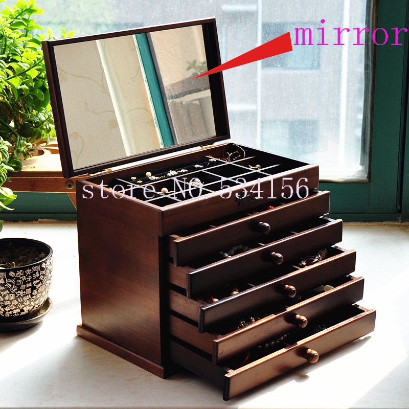 Upgraded version Wood Jewelry Box Storage Gift Display Box Jewelry Lagre Gift Box Packaging casket marriage gift box pu er tea gift box packaging box aeroid ink cowhide paper single cake box 357g tea gift aeroid