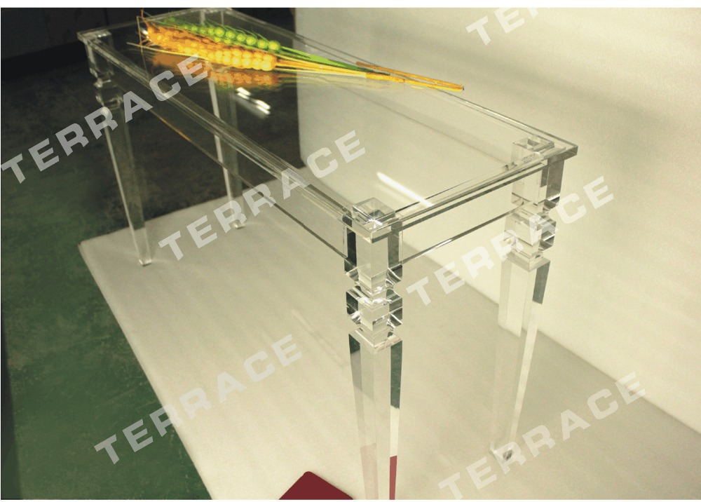 Rectangular lucite console table with square tapered acrylic legs,Acrylic Dining Tables