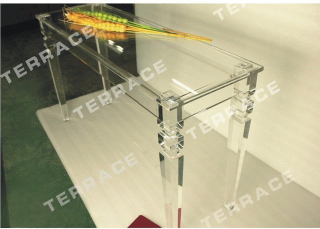 rectangular lucite console table with square tapered