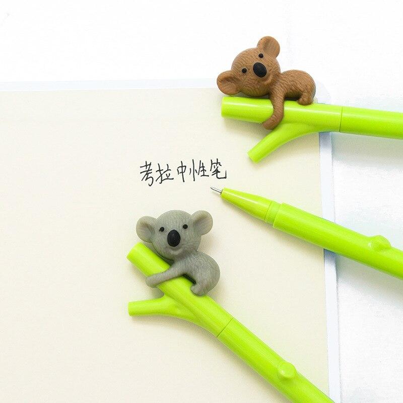 EZONE 2PCS/Set Cute koala Bear Gel Ink Pens for Writing Black Pen 0.5mm Caneta Lovely Kawaii Stationery Office School Supplies