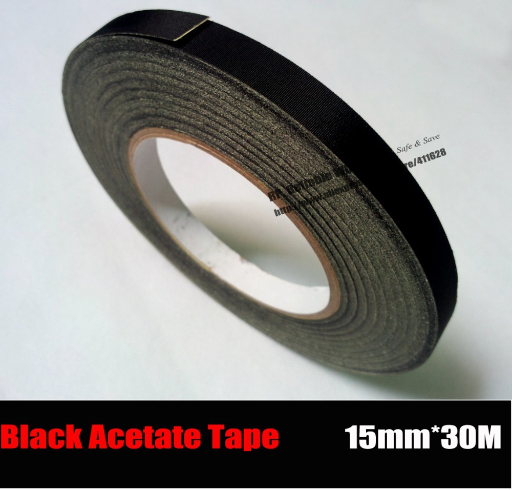 (15mm*30 Meters) Black Adhesive High Temperature Insulating Acetate Cloth Tape Sticky LCD Display Screen Fasten