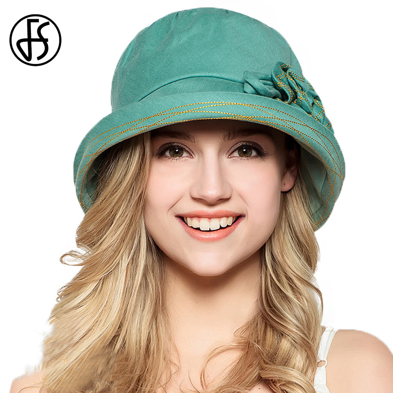 FS 100% Cotton Summer Hat Wide Brim For Women Fashion Beach Foldable Visor Caps With Flowers Green Blue Sun Hats