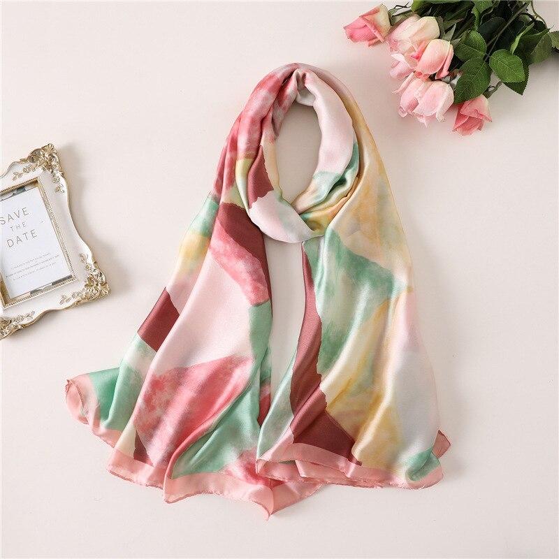 Women Silk   Scarf   Shawls Pattern Lady Beach   Scarves   Pashmina Hijab Foulard Head Band Scarfs   Wraps   Sunscreen 2019 Fashion