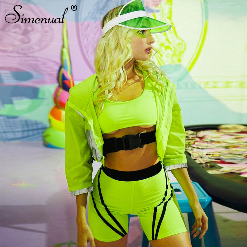 Simenual Neon Color Buckles 2 Piece Set Women Sporty Active Wear Casual Sleeveless Tracksuits Workout Top And Biker Shorts Sets