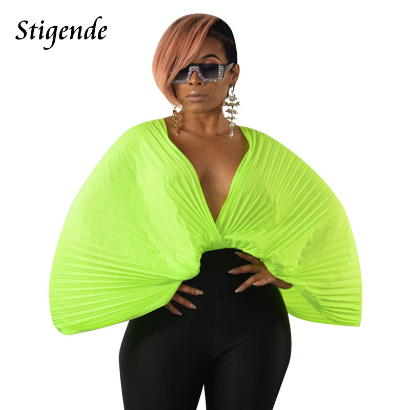 Stigende Fashion Women Sexy Chiffon Pleated   Blouses   Solid Casual Deep V Neck   Blouse     Shirts   Summer Loose Sleeve Frill   Blouse   Top