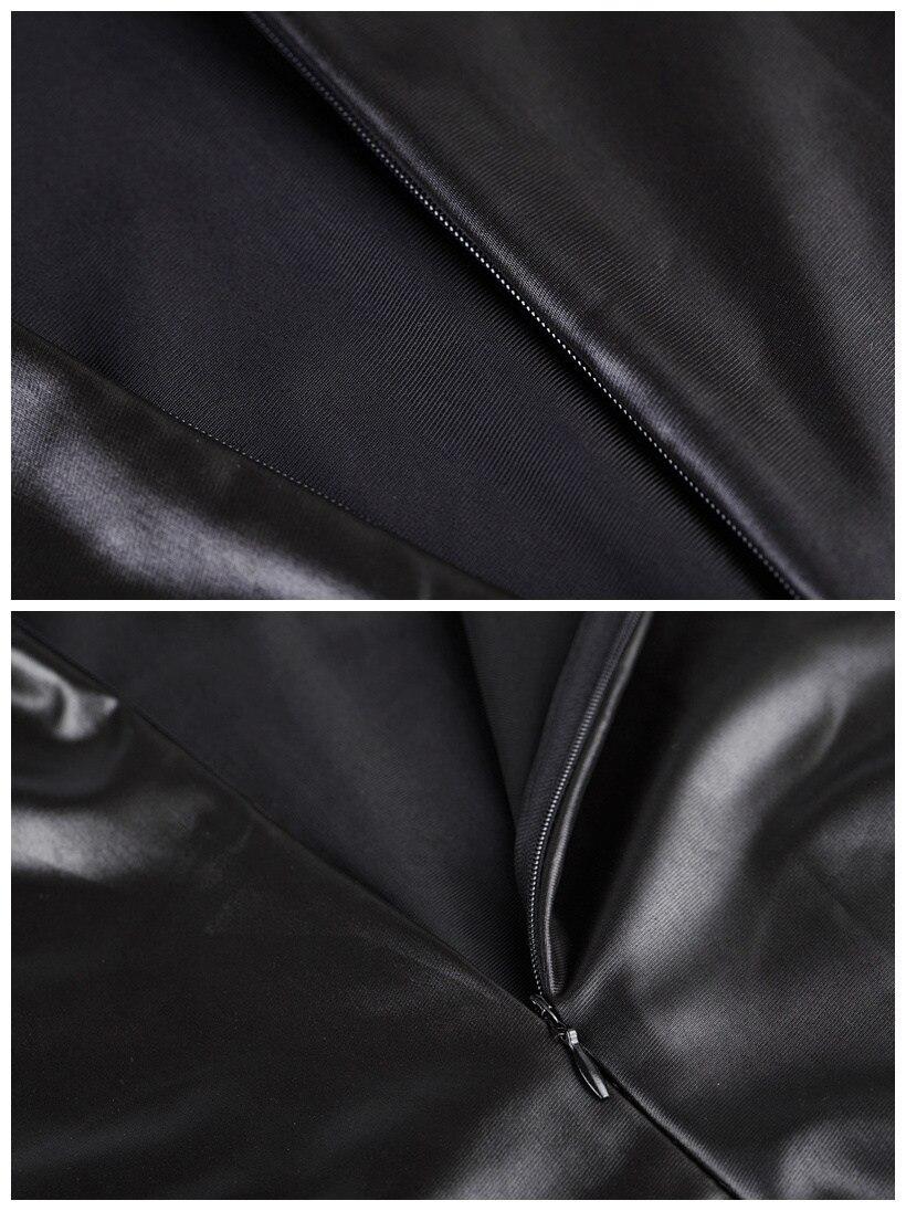 Frauen Shiny Black Kunstleder Kleid Langarm, figurbetontes Midikleid - Damenbekleidung - Foto 3