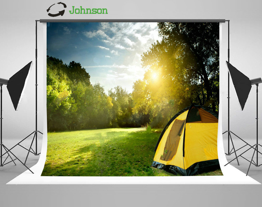 Sky Clouds Tent Forest Camp Among Meadow Tree Grass backdrops polyester or Vinyl cloth Computer print wall background