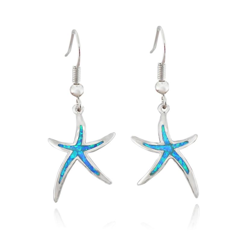 HAIMIS Venta caliente sintético azul marrón blanco verde fuego ópalo estrella estrella de mar aretes de oreja para mujer OE263