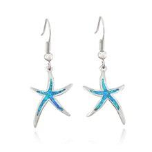 Venta caliente Del Envío Libre Sintético Azul Marrón Blanco Ópalo de Fuego Verde Estrella starfish Ear Stud Pendientes Para Las Mujeres OE263