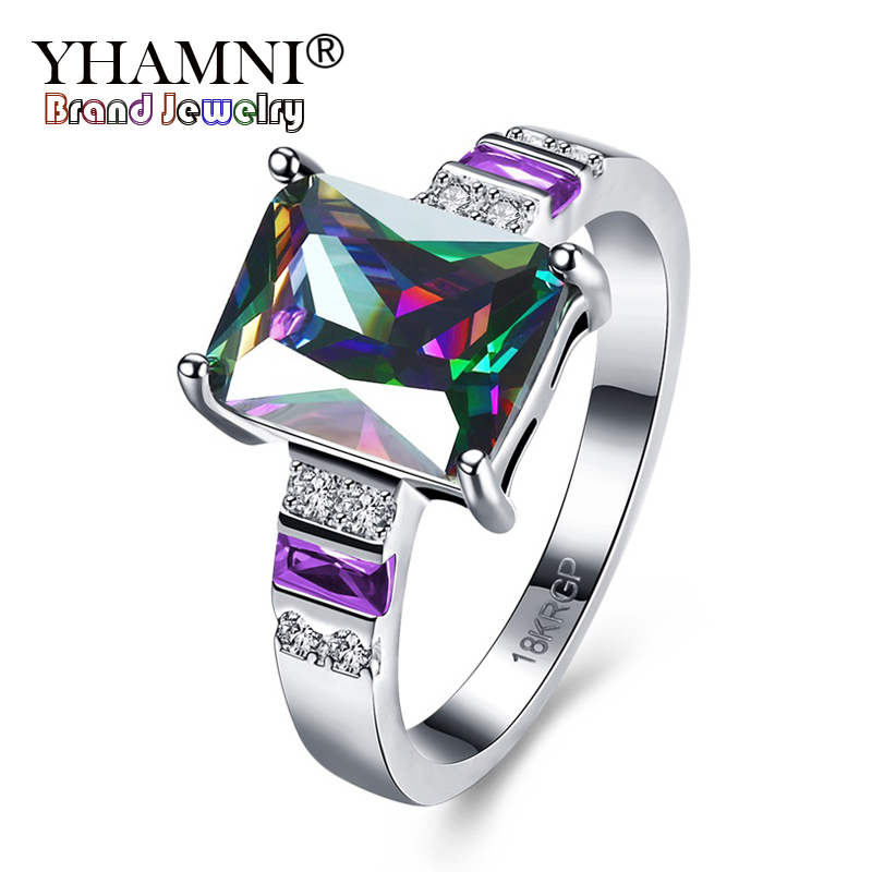 YHAMNI Fashion Women Wedding Rings Set Big Rainbow Zircon Colorful CZ 18KRGP Stamp Solid Gold Filled Engagement Rings R871