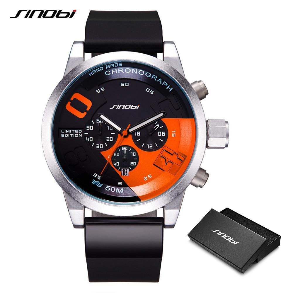 SINOBI Mostrador Grande Projeto Do Esporte Do Cronógrafo Dos Homens Relógios Militar Marca de Moda À Prova D' Água Relógio de Quartzo Relógio Relogio masculino