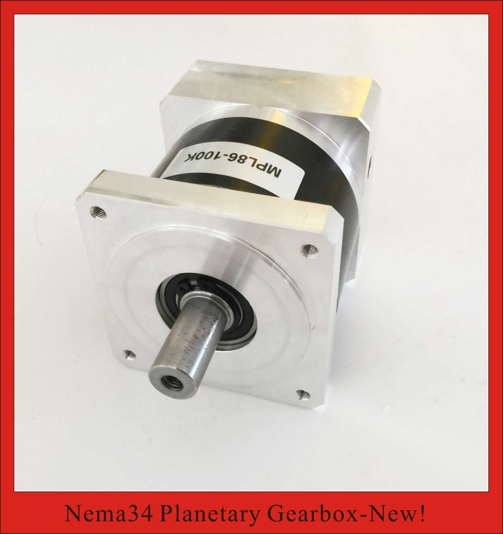 25:1 NEMA34 Planetary Gearbox for nema 34 Stepper Motor 50N.m (6944oz-in) Rated Torque 14mm Input and 16mm Output 2pcs lot high torque planetary gearbox is a no 17 stepping motor 788 oz in 15 1 20 1 25 1 with a 34 mm motor body length