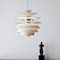 Постмодерн минималистский белый алюминий одной головы подвесной светильник Nordic Творческий шишка дизайн светодиодный Ресторан Декор E27 осв
