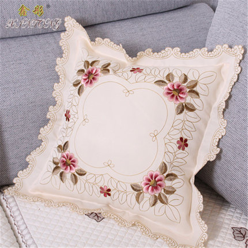 European luxury embroidered cushion cover flower rose