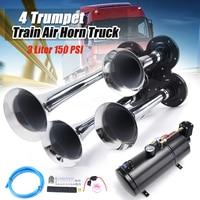 3 Liter 150 PSI 12V Air Compressor and 4 Trumpet Chrome Train Air Horn Truck