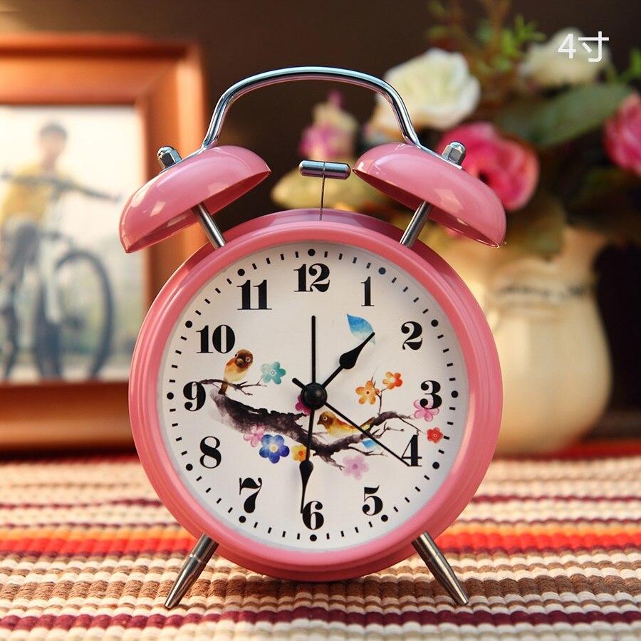 a Metal bell sound clock dual alarm clock children cartoon students  talking clock small bedroom