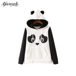 Afeenyrk 2017 new fashion cartoon hippie cute hip hop panda hoodies white black color lady sweatshirt.jpg 250x250