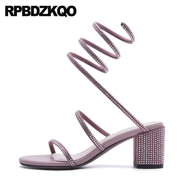 High Heel Wedding Sexy Diamond Block Crystal Rhinestone Gladiator Sandals Strap Up Elegant Strappy Square Pumps Pink Women Shoes new pink red rhinestone diamond bride s shoes super high heels crystal bowl wedding shoes elegant sandals female pumps feminina