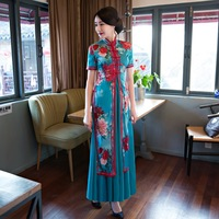 Blue Satin Print Vietnam Aodai 2PCS Qipao Traditional Chinese Women Dress Novelty Flower Long Cheongsam Plus Size S 4XL