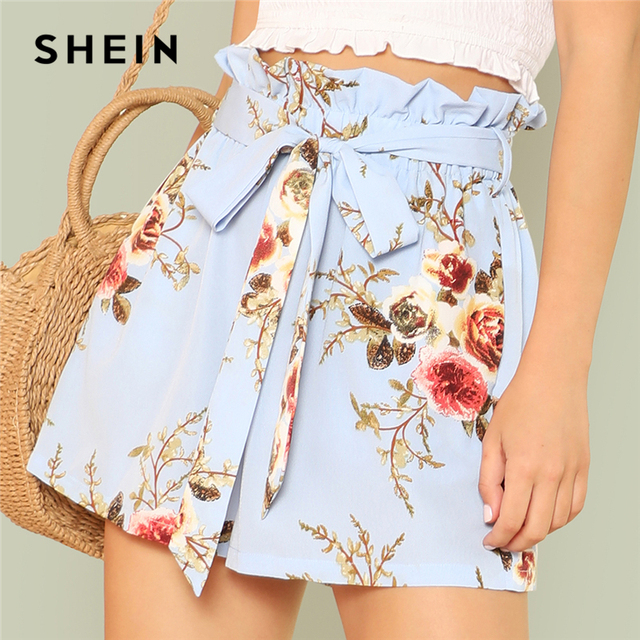 21cc646591a3 SHEIN Multicolor Vacation Boho Bohemian Beach Floral Print Frilled High  Elastic Waist Wide Leg Belted Summer Shorts For Women