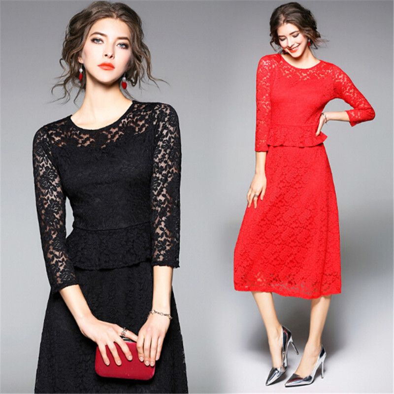 European and American wind high quality women's dress 2018 the latest fashion  lace grace long dress and fashion aristocracy