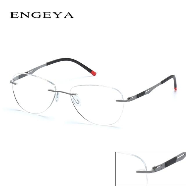 ENGEYA Glasses Legs Unique Design Of Men Women Glasses ,Fashion Rimless Glasses Super Light Metal Glasses Frame For Men #IP8033