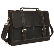 TIDING NEW genuine leather portfolio office bag brand handbags vintage style briefcase 1118