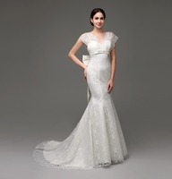 Hot Sale New Arrival Mermaid Trumpet V Neck Floor Length Watteau Bows Lace Beading Wedding