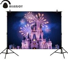 Photography Backdrops Princess Celebration Allenjoy Baby Shower Party Castle Night-Fireworks
