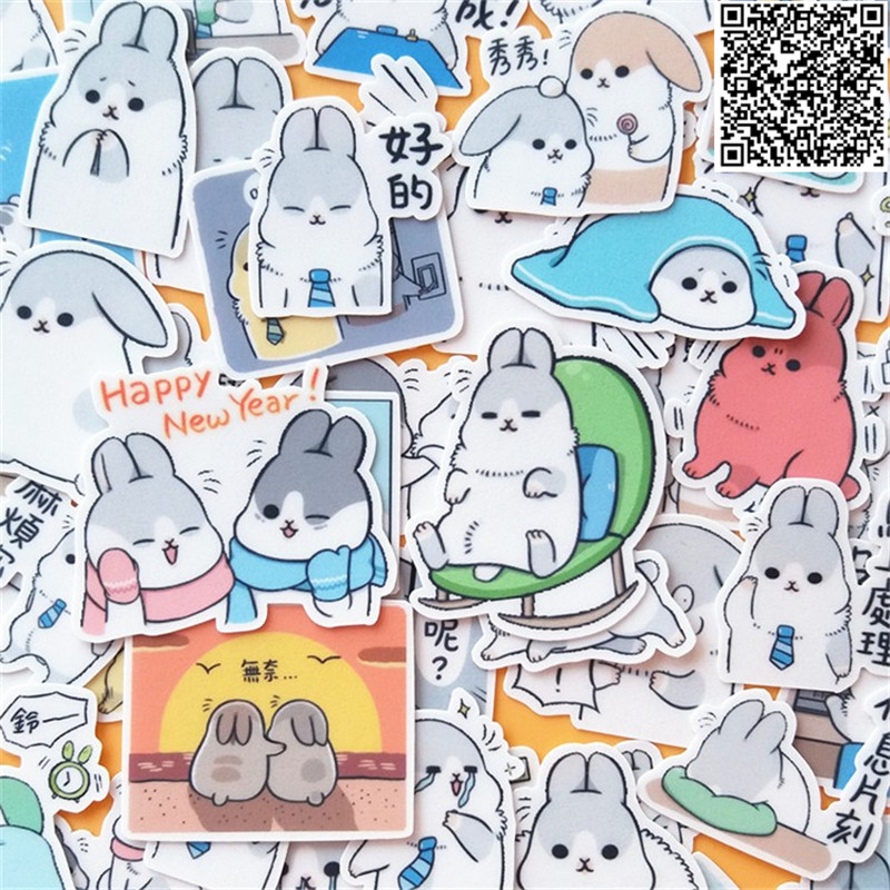 46 Pcs Cute bunny face Sticker For Luggage Skateboard Phone Laptop Moto Bicycle Wall Guitar/Eason Stickers/DIY Scrapbooking