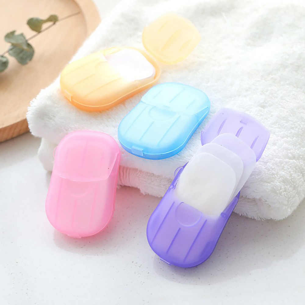 Outdoor Travel Soap Paper Washing Hand Bath Clean Scented Slice Sheets 20pcs Disposable Boxe Soap Portable Mini Paper Soap