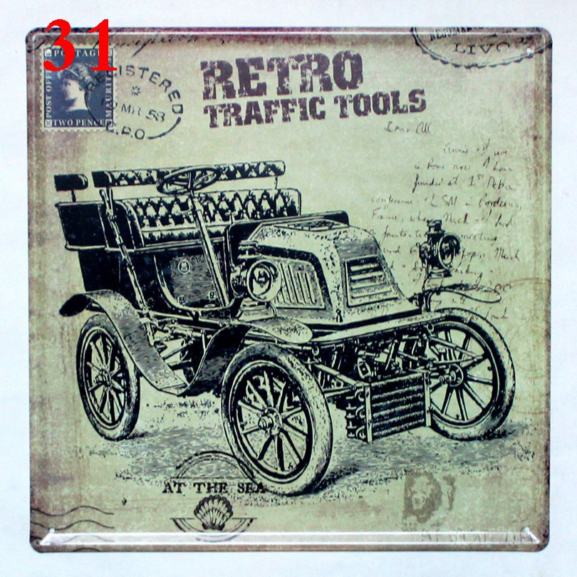 Retro Traffic Tools Vintage Car Tin Signs Wall Picture for Living ...